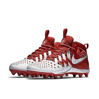 f8cddf844675 Nike Huarache 5 LAX TD Lacrosse Cleats Mid 807142-611 White   Red Men s  Sizes