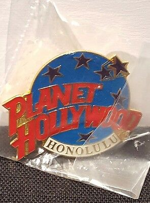 New Planet Hollywood Honolulu Classic Globe Red White & Light Blue Lapel Pin