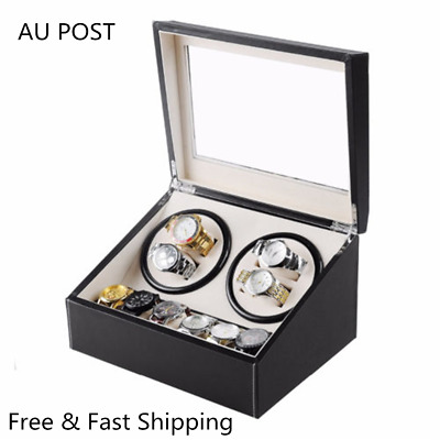 Luxury PU Leather Dual Motor Automatic Watch Winder 10 Watches Display Box Gift