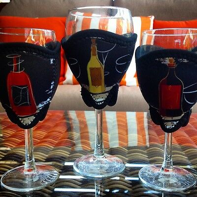 Wine Glass Cooler Set - 3 x Neoprene Wine Glass Coolers (one size) Abstract