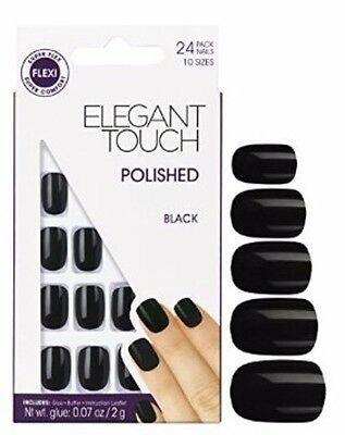ELEGANT TOUCH 24 high-gloss polished false nails in black super-flex technology