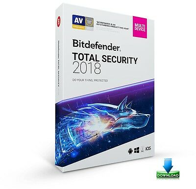Bitdefender Total Security 2018 - 5 PC - Devices - 1 Year - ESD License