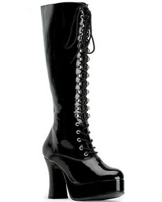 Black Patent Lace Up Womens Boots