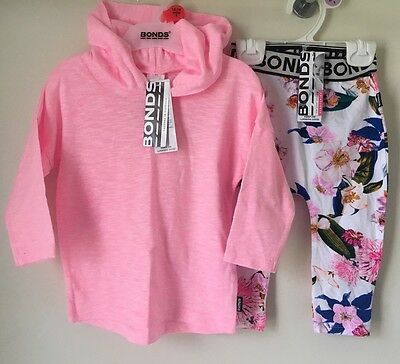 Size 0 Baby Girls Bonds Hooded Tee & Stretchies Leggings BNWT ( Flower Market )