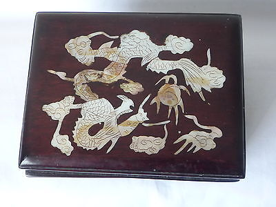 Old Chinese Wooden Inlay Shell Dragon Jewellery Trinket Box