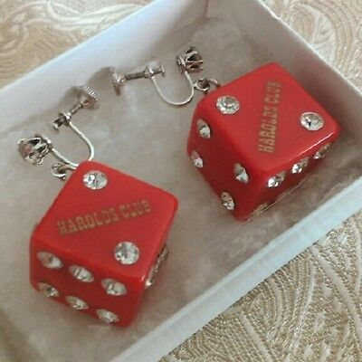 Vintage Rhinestone Bakelite Dice Earrings