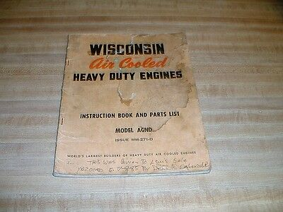 Vintage Wisconsin Instruction Book And Parts List For Model AGND