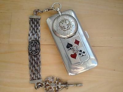 Antique LUBAVIN Imperial Russian Silver Gambler Poker Cigarette Case with Watch