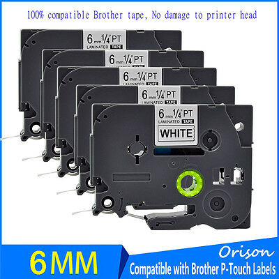5PK Black on White TZ 211 Label Tape 6mm Compatible For Brother TZe 211 P-touch