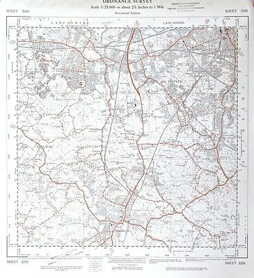 Vintage original 50s/60s unfolded sheet map of Cheshire: Cheadle, Wilmslow SJ88