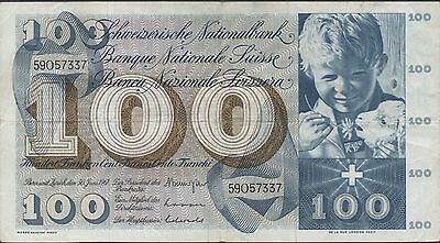 Switzerland , 100 Franken , 30.6.1967 , P 49j , Series 59O
