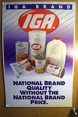 Vintage 1980s IGA Foods Grocery Store Display Advertising Sign Thick Cardboard