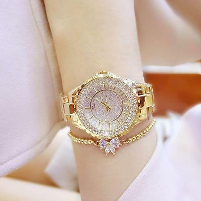 Women Fashion Casual Rhinestone Stainless Steel Dial Analog Quartz Wrist Watch