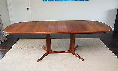 Vtg Gudme Mobelfabrik Teak Dining Table-Long Danish Teak Table w/ 2 Leaves-Nice