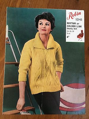 "Vintage Robin Chunky Knitting Pattern 1041 Ladies women's Jumper 34""-38"" (1444)"