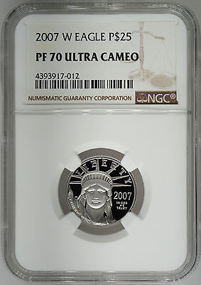 2007-W NGC PF70 1/4 oz Proof Platinum Eagle $25