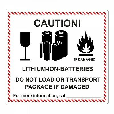 "Pegatina ""lithium-ion-batteries"" - 120 x 110mm - 100 piezas"