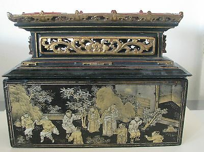 19Th Century Chinese Lacquered Wood Gilt Hand Carved Altar Box