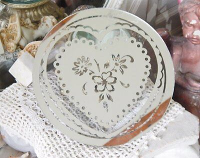 Sweet Petite Vtg Scalloped Heart Etched Glass Vanity Boudoir Display Mirror 9""