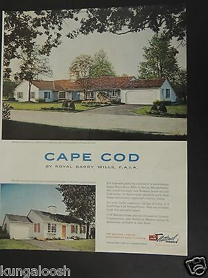1958 National Homes Cape Cod By Royal Barry Wills Of Boston Vintage Photo Ad