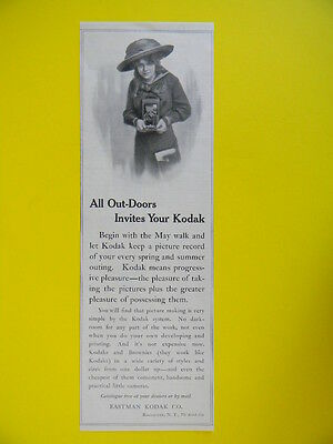 1911 All Out-Doors Invites Your Kodak ~ Brownie Camera Sales Art Ad