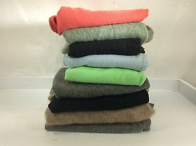 Lot of 10 100% Cashmere Sweaters Craft Cutter Fabric Multi Color Recycle lbs