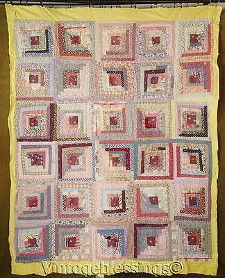 "Vintage 30s Feedsack Log Cabin QUILT Top 84"" x 66"" Novelty Print"
