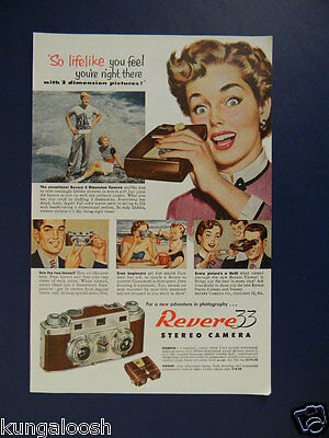 1953 Classic 50's Look Revere 33 Stereo Camera Sales Art Photo Ad