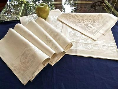 "Unused Set 8 Vintage Crisp Cotton-Rayon Damask 15"" Napkins Acanthus Leaves Japan"