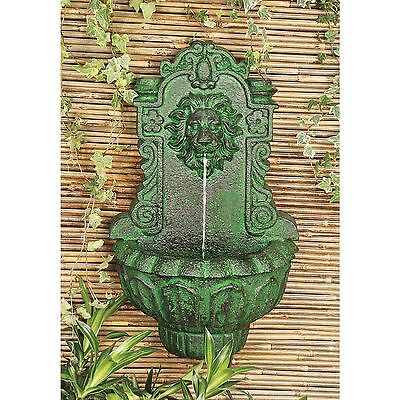 Casa Del Lago Majestic Lion Head Hand Finished Wall Niche Sculptural Fountain