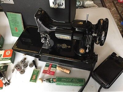 Vintage Singer 221 Centennial Featherweight Sewing Machine/Tons Of Acces & Case!