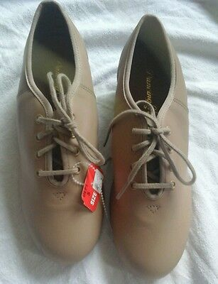 Dancing Fair  Signature tan split sole leather tap jazz clogging shoes  size 6