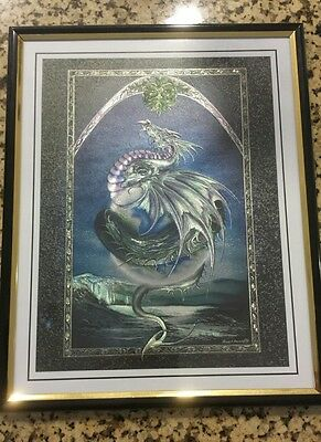 Earth dragon metallic art poster print 8in X 10in (framed)
