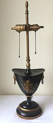 VINTAGE FRENCH EMPIRE TOLEWARE Trophy LAMP W/ LION HEAD HANDLES DIRECTOIRE