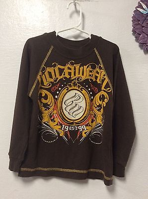 Boy's long sleeve thermal T-Shirt ROCAWEAR size small 4 brown 69