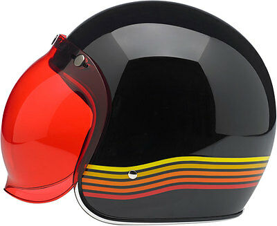 BILTWELL Bubble UV Shield/Visor for Open-Face Motorcycle Helmets (Red/Rose)