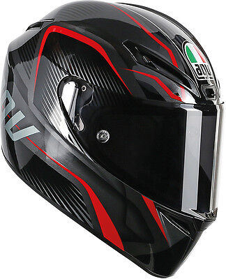 AGV GT VELOCE Full-Face Motorcycle Helmet (TXT Black/Gunmetal/Red) MS (Med-Sml)