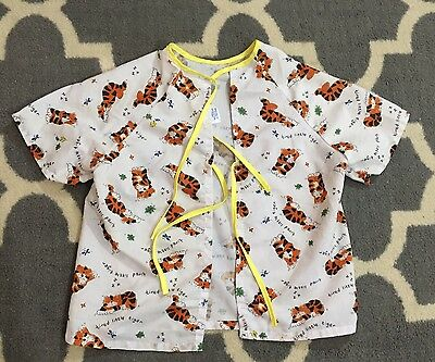 Baby Toddler Unisex Hospital Gown SS Tie Front Tiger Print Small