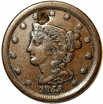 1855 Braided Hair  Half Cent, Copper, Full LIBERTY, Hair Details. L@@K!!!