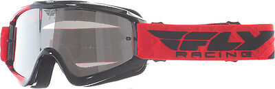 FLY RACING MX Motocross MTB BMX Zone Goggles (Red/Black Clear/Flash Chrome Lens)
