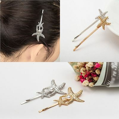 Gifts Gold/Silver Accessories Barrettes Hair Clip Starfish Pearl Hairpins