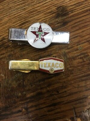 Pair Vintage Texaco Gas & Oil Employee Service Tie Clips