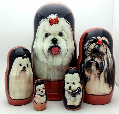 Shih tzu Dog Russian Hand Carved Hand Painted Nesting DOLL Set of 5 dolls