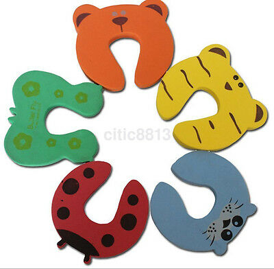 5PCS Baby Infant Kids Safety Cartoon Door Stopper Jammer Finger Guard Protector^