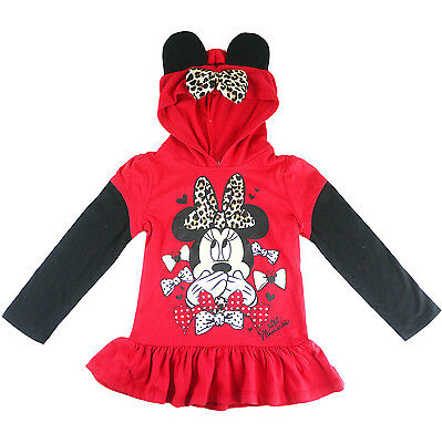 Girls Minnie Mouse 3D hoodie long sleeve top t-shirt tee jumper size 3-7 new red