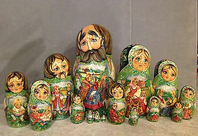 """Vintage Russian Nesting Doll Fedoskino Style """"the Village Summer """"15Pc 11.5""""sign"""