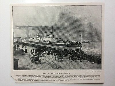"""Victorian Print: Andre & Sleigh #PC: H.M.S. """"Victoria"""" At Newcastle-on-Tyne"""