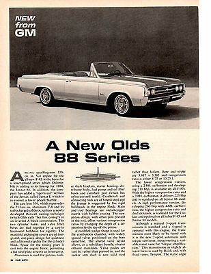 1964 Oldsmobile 88 Series ~ Original 4-Page New Car Preview Article / Ad