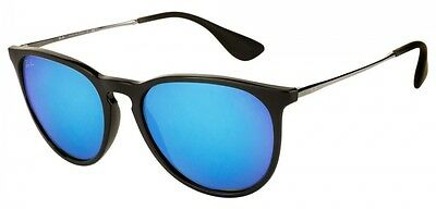 Ray-Ban Erika RB4171 601/55 Black/Silver Frame Blue Mirror 54mm Lens Sunglasses