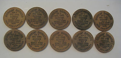 10 Vintage 1990 Dunkin Donuts Free Coffee / Donut Advertising Wooden Nickels